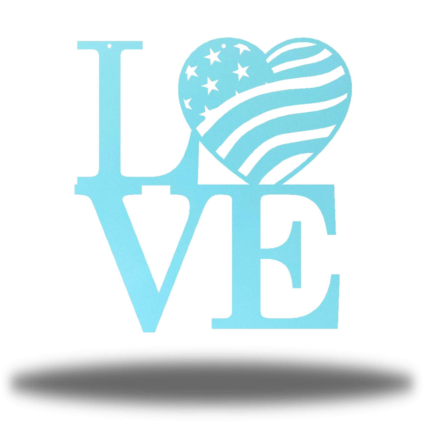 "Light blue steel decorative sign that spells ""LOVE"" where 'O' is a heart-shaped USA flag"