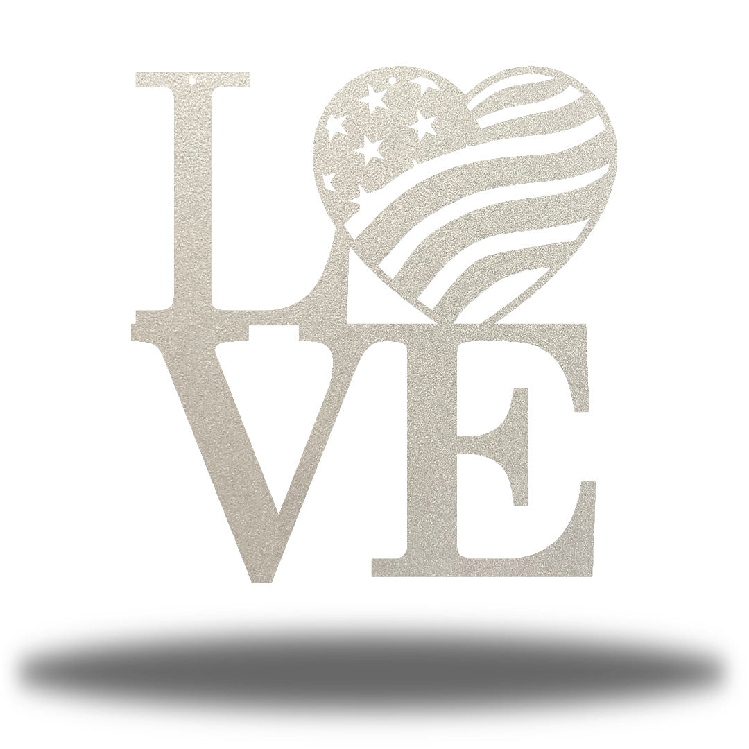 "Silver steel decorative sign that spells ""LOVE"" where 'O' is a heart-shaped USA flag"