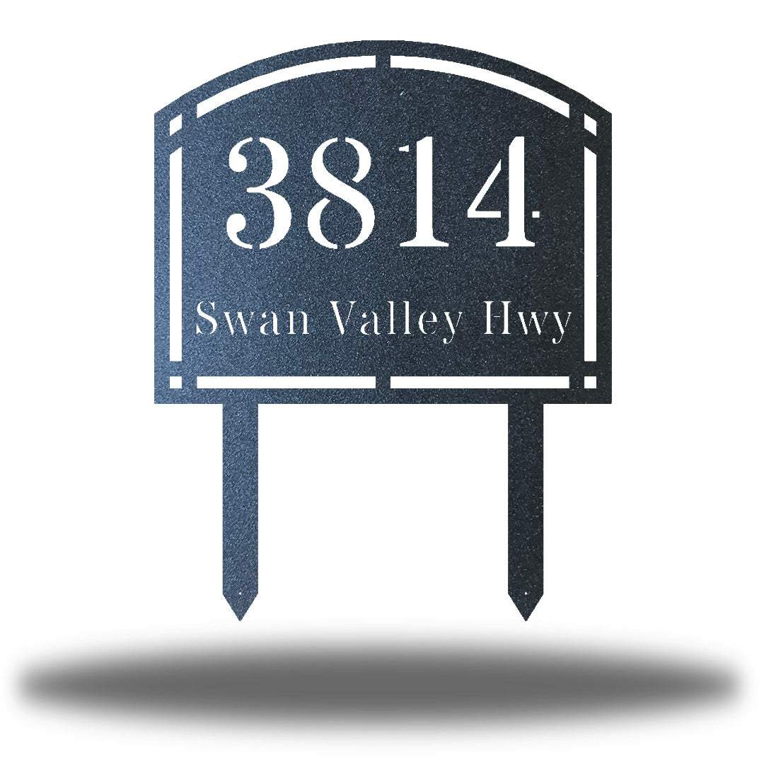 "Black steel arched address signage with texts ""3814 Swan Valley Hwy"" laser cut through it"
