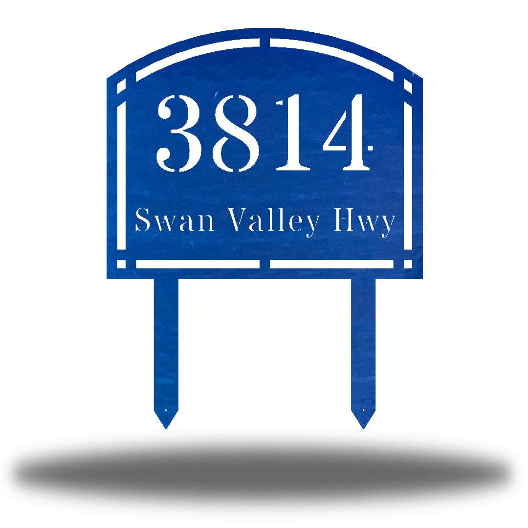 "Blue steel arched address signage with texts ""3814 Swan Valley Hwy"" laser cut through it"