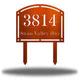 "Copper steel arched address signage with texts ""3814 Swan Valley Hwy"" laser cut through it"