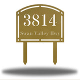 "Gold steel arched address signage with texts ""3814 Swan Valley Hwy"" laser cut through it"