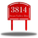 "Red steel arched address signage with texts ""3814 Swan Valley Hwy"" laser cut through it"