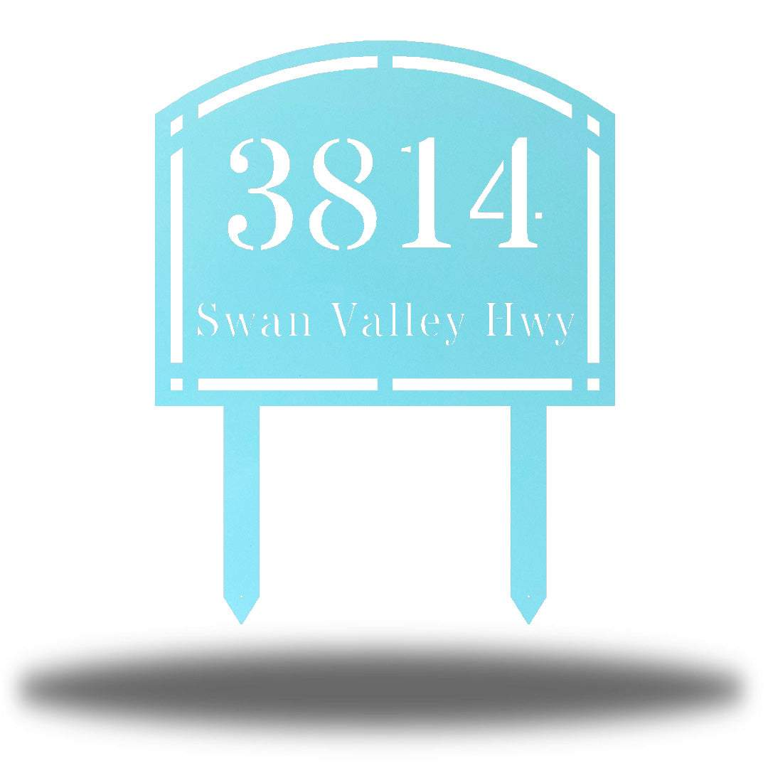 "Light blue steel arched address signage with texts ""3814 Swan Valley Hwy"" laser cut through it"
