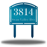 "Teal steel arched address signage with texts ""3814 Swan Valley Hwy"" laser cut through it"