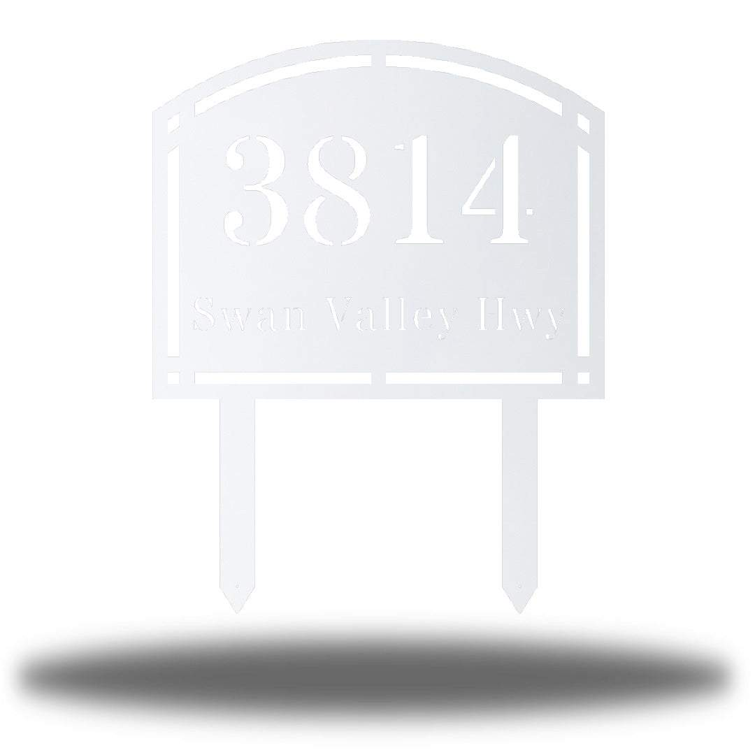 "White steel arched address signage with texts ""3814 Swan Valley Hwy"" laser cut through it"