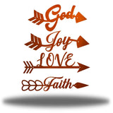 "4 copper arrow-shaped wall decors with words ""God, Joy, LOVE and Faith"" on each of it"