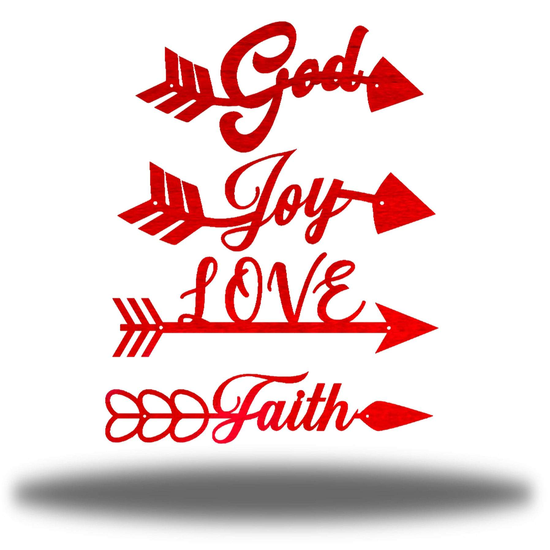 "4 red arrow-shaped wall decors with words ""God, Joy, LOVE and Faith"" on each of it"