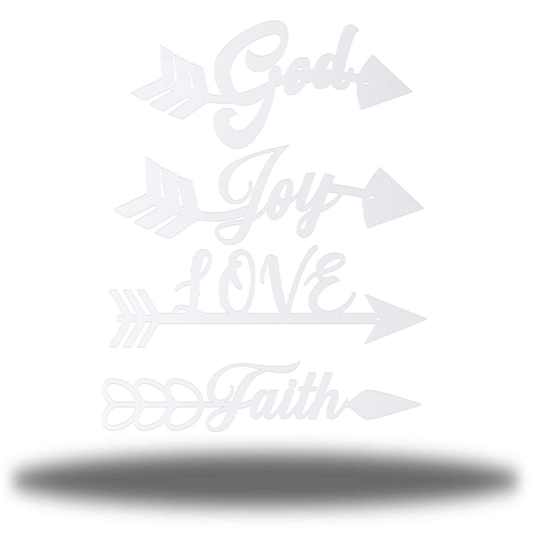 "4 white arrow-shaped wall decors with words ""God, Joy, LOVE and Faith"" on each of it"