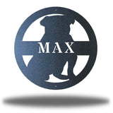 "Black bulldog-shaped steel decorative monogram with the name ""MAX"" laser cut through it"