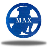 "Blue bulldog-shaped steel decorative monogram with the name ""MAX"" laser cut through it"