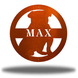 "Copper bulldog-shaped steel decorative monogram with the name ""MAX"" laser cut through it"