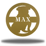 "Gold bulldog-shaped steel decorative monogram with the name ""MAX"" laser cut through it"