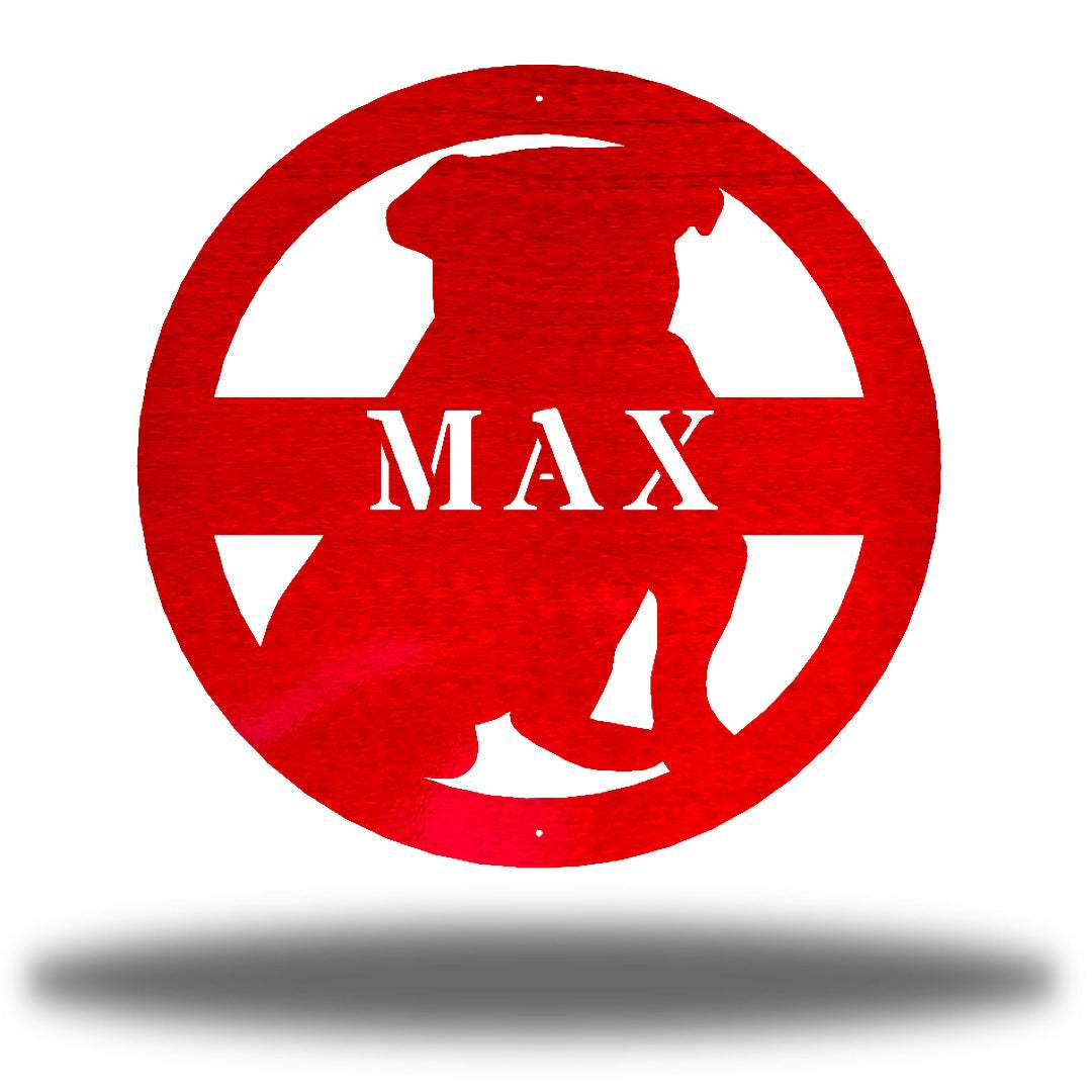 "Red bulldog-shaped steel decorative monogram with the name ""MAX"" laser cut through it"