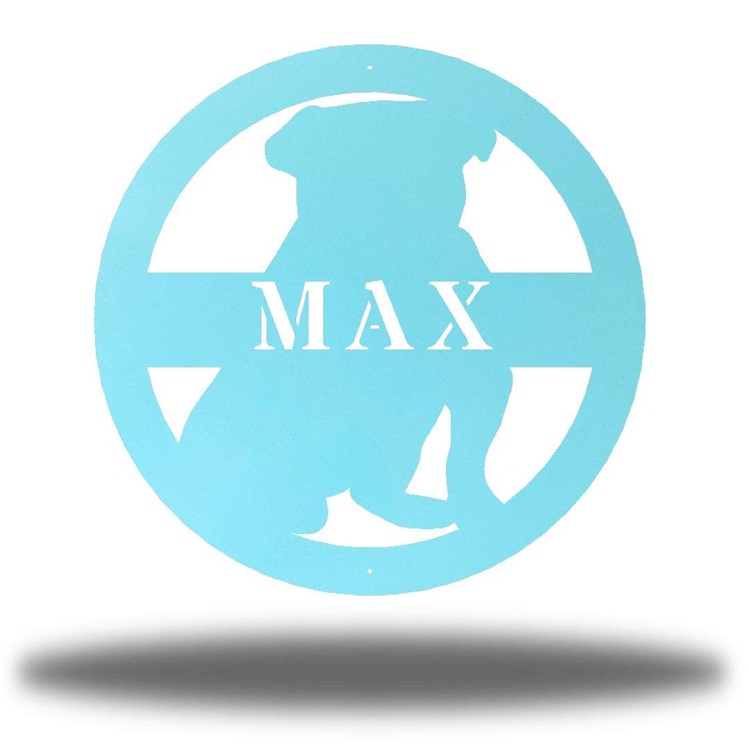 "Light blue bulldog-shaped steel decorative monogram with the name ""MAX"" laser cut through it"
