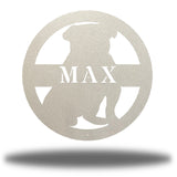 "Silver bulldog-shaped steel decorative monogram with the name ""MAX"" laser cut through it"