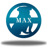 "Teal bulldog-shaped steel decorative monogram with the name ""MAX"" laser cut through it"