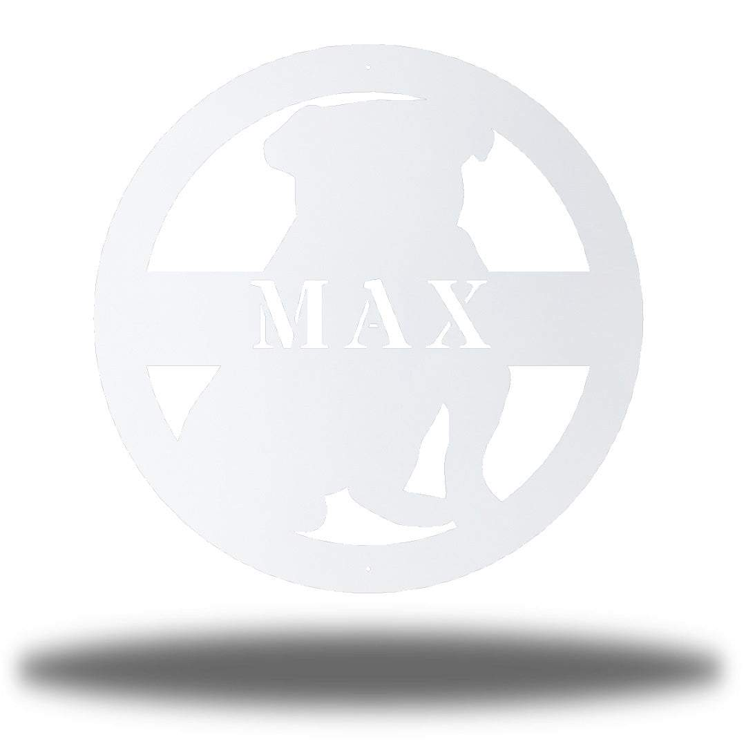 "White bulldog-shaped steel decorative monogram with the name ""MAX"" laser cut through it"