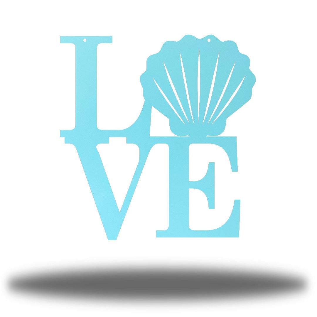 "Light blue steel decorative sign that spells ""LOVE"" where 'O' is a clam shell"