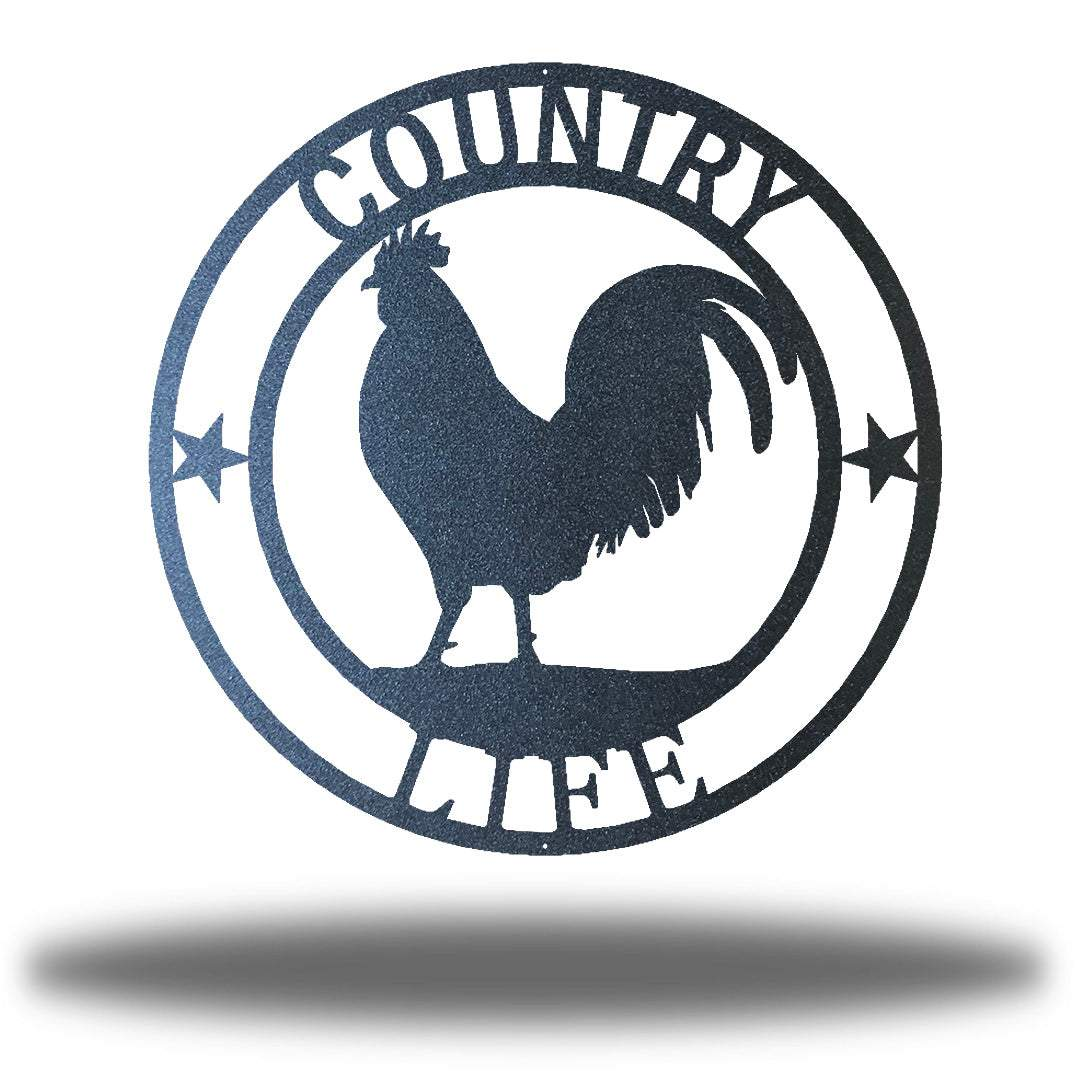 "Black wall decoration with texts ""COUNTRY"" and ""LIFE"" on it and a rooster in the middle"