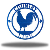 "Blue wall decoration with texts ""COUNTRY"" and ""LIFE"" on it and a rooster in the middle"