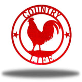 "Red wall decoration with texts ""COUNTRY"" and ""LIFE"" on it and a rooster in the middle"