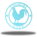 "Light blue wall decoration with texts ""COUNTRY"" and ""LIFE"" on it and a rooster in the middle"
