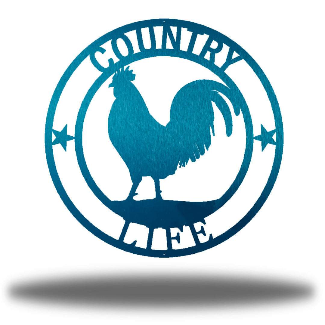 "Teal wall decoration with texts ""COUNTRY"" and ""LIFE"" on it and a rooster in the middle"
