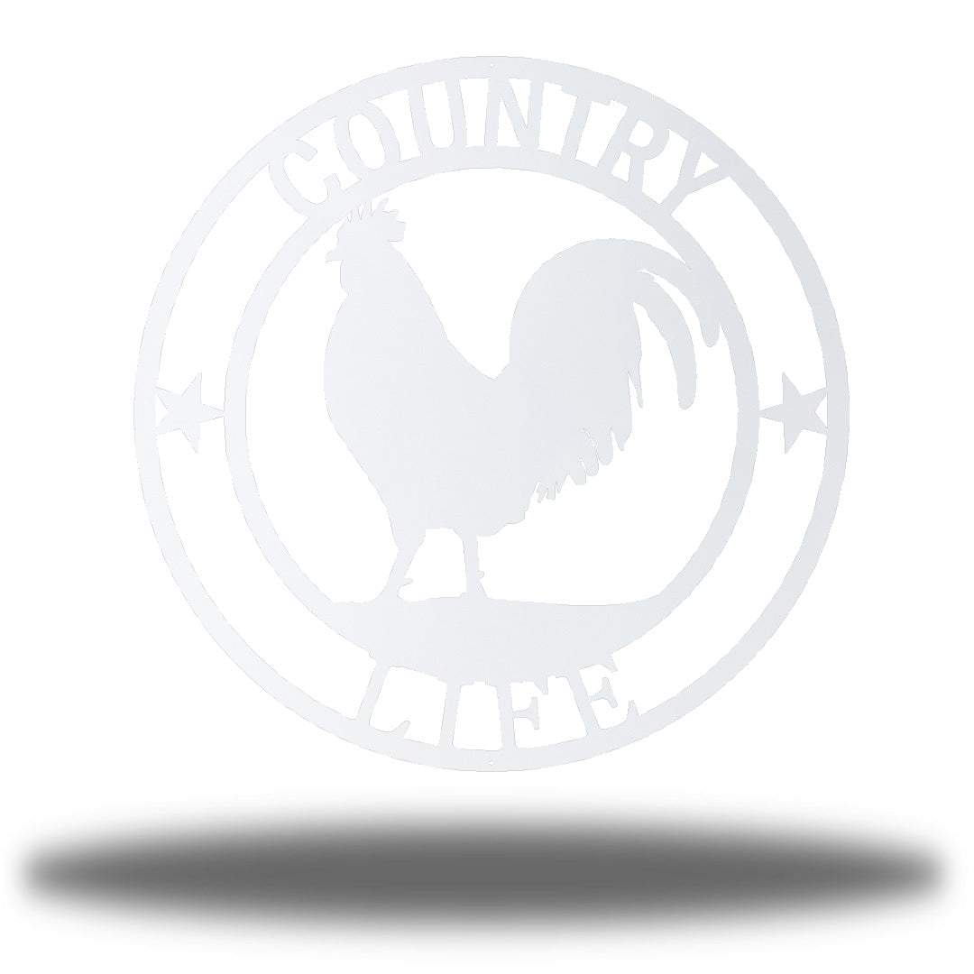 "White wall decoration with texts ""COUNTRY"" and ""LIFE"" on it and a rooster in the middle"
