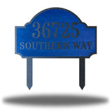 "Blue steel address signage that says ""36725 SOUTHERN WAY"""