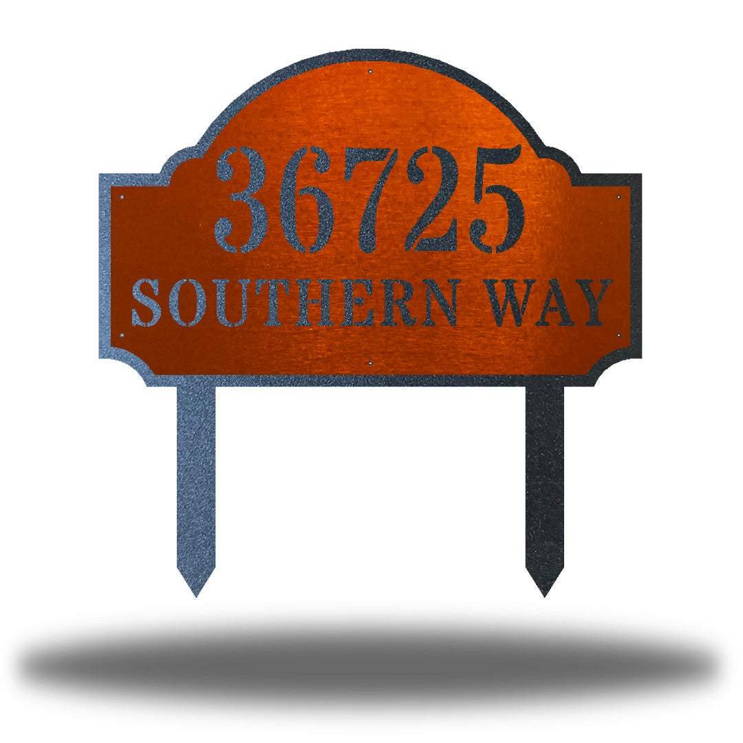 "Copper steel address signage that says ""36725 SOUTHERN WAY"""