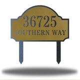 "Gold steel address signage that says ""36725 SOUTHERN WAY"""