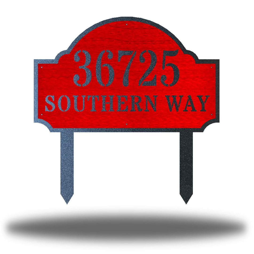 "Red steel address signage that says ""36725 SOUTHERN WAY"""