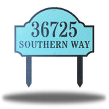 "Light steel address signage that says ""36725 SOUTHERN WAY"""
