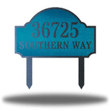 "Teal steel address signage that says ""36725 SOUTHERN WAY"""