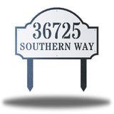 "White steel address signage that says ""36725 SOUTHERN WAY"""