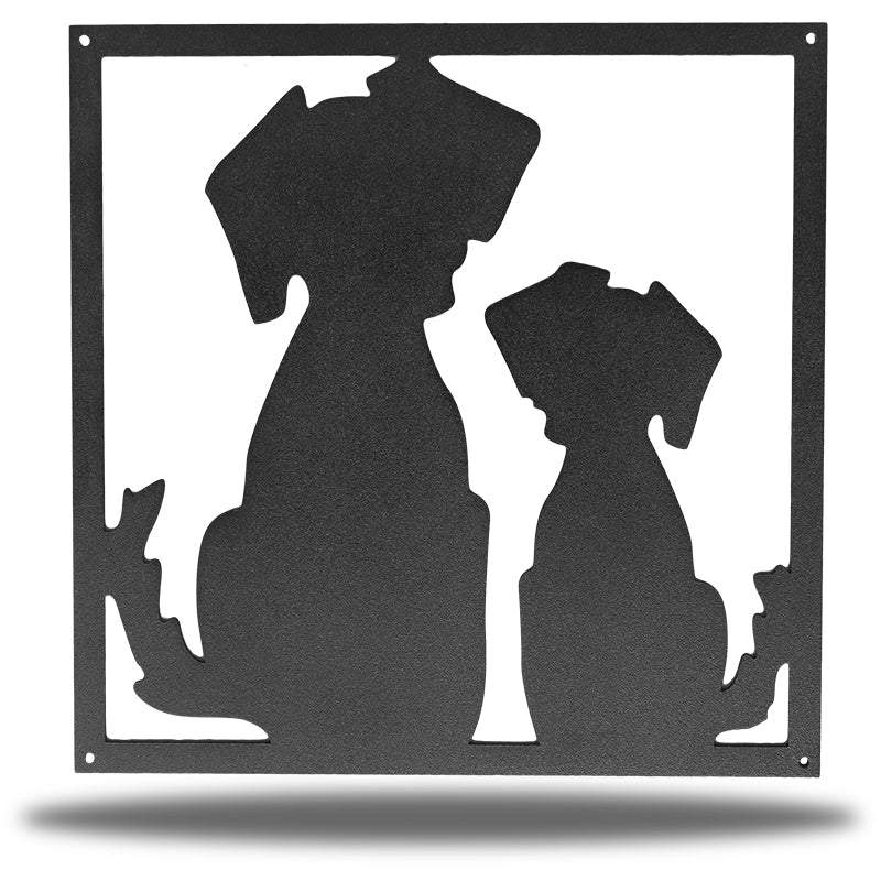 Black steel decorative frame with 2 dogs on it