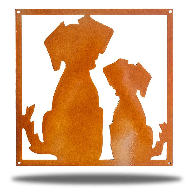 Copper steel decorative frame with 2 dogs on it