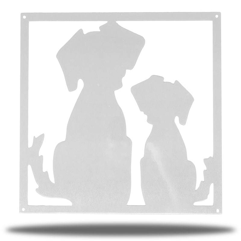 Silver steel decorative frame with 2 dogs on it