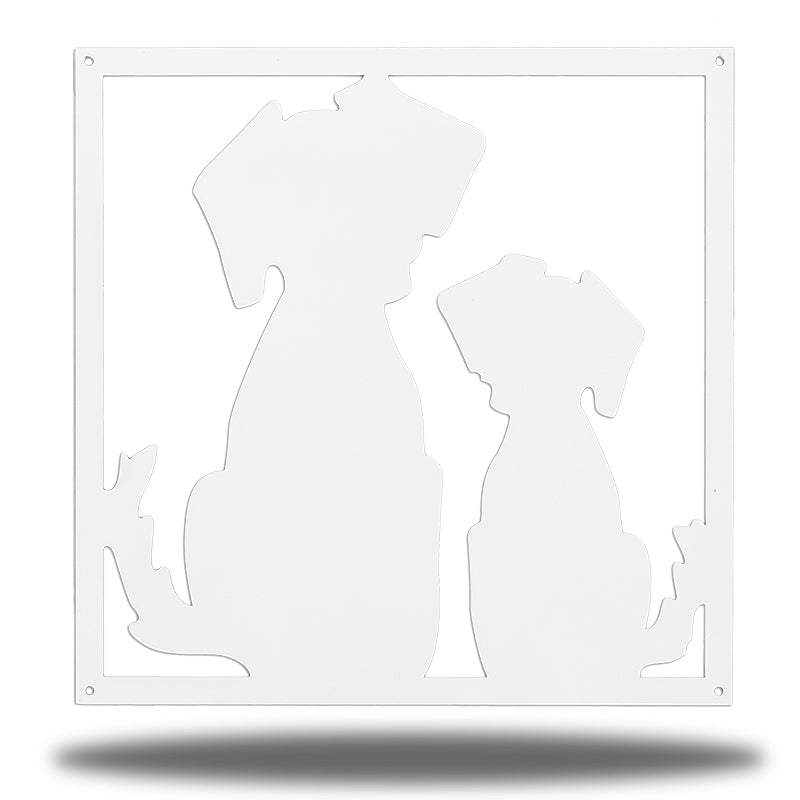 White steel decorative frame with 2 dogs on it