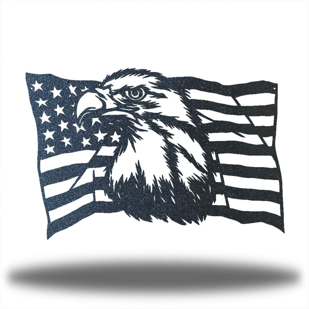 Black steel USA flag wall decoration with a bald eagle in the middle