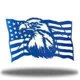 Blue steel USA flag wall decoration with a bald eagle in the middle