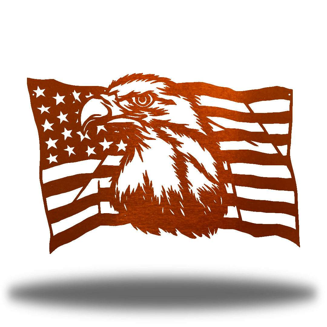 Copper steel USA flag wall decoration with a bald eagle in the middle