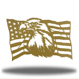 Gold steel USA flag wall decoration with a bald eagle in the middle
