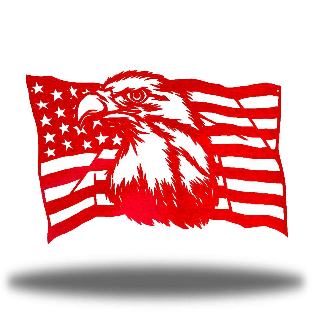 Red steel USA flag wall decoration with a bald eagle in the middle
