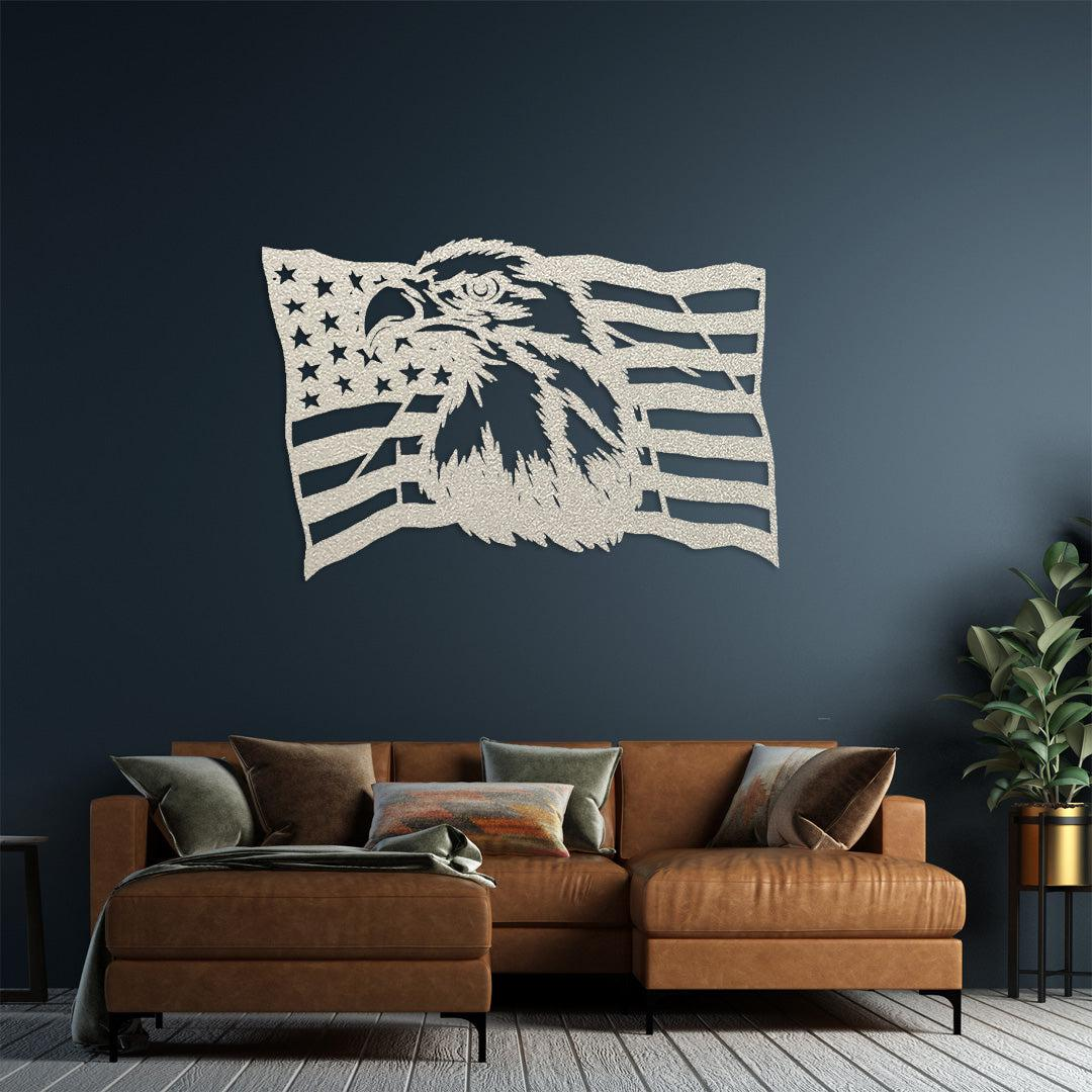 White steel USA flag wall decoration with a bald eagle in the middle displayed on a wall