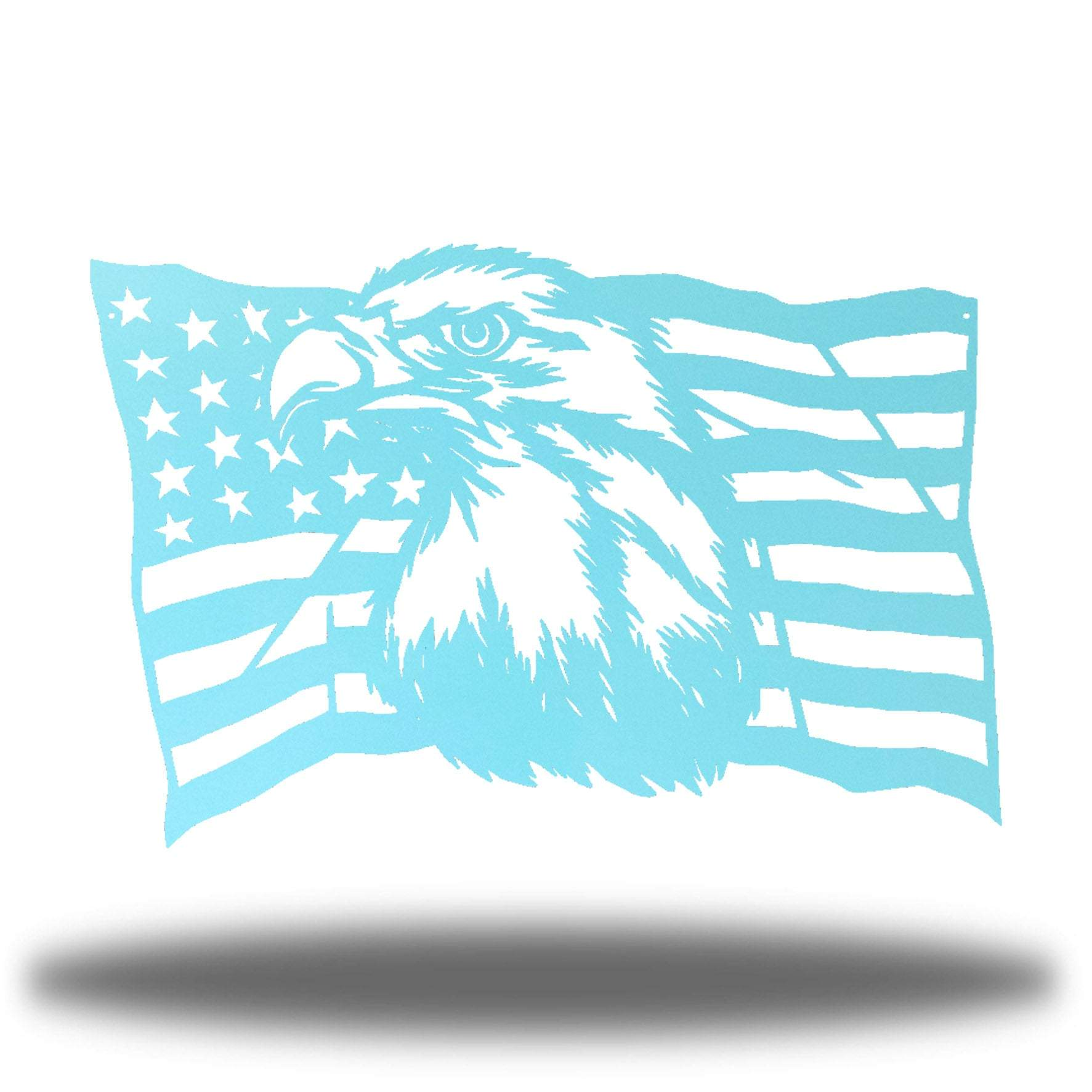 Light blue steel USA flag wall decoration with a bald eagle in the middle
