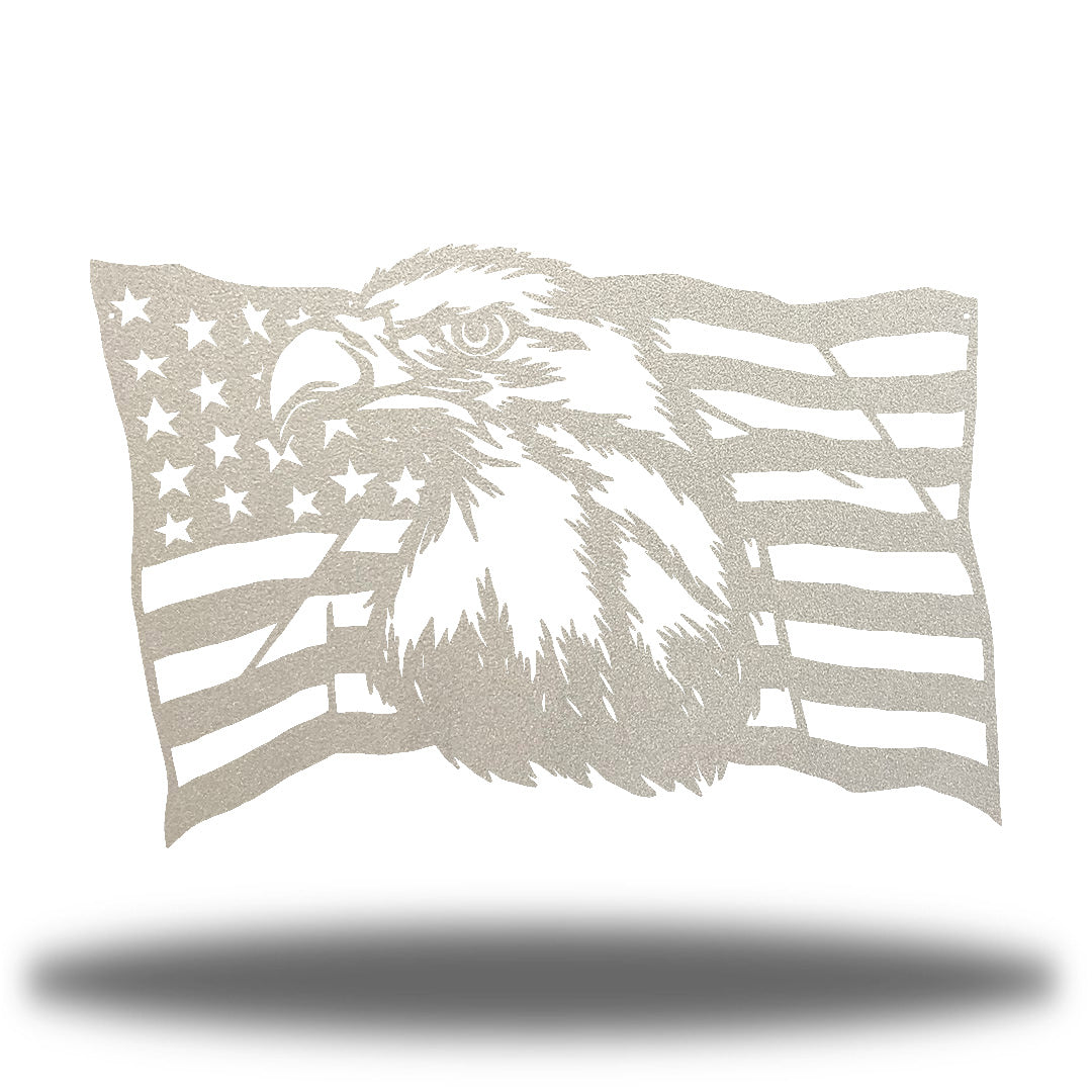 Silver steel USA flag wall decoration with a bald eagle in the middle
