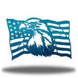 Teal steel USA flag wall decoration with a bald eagle in the middle
