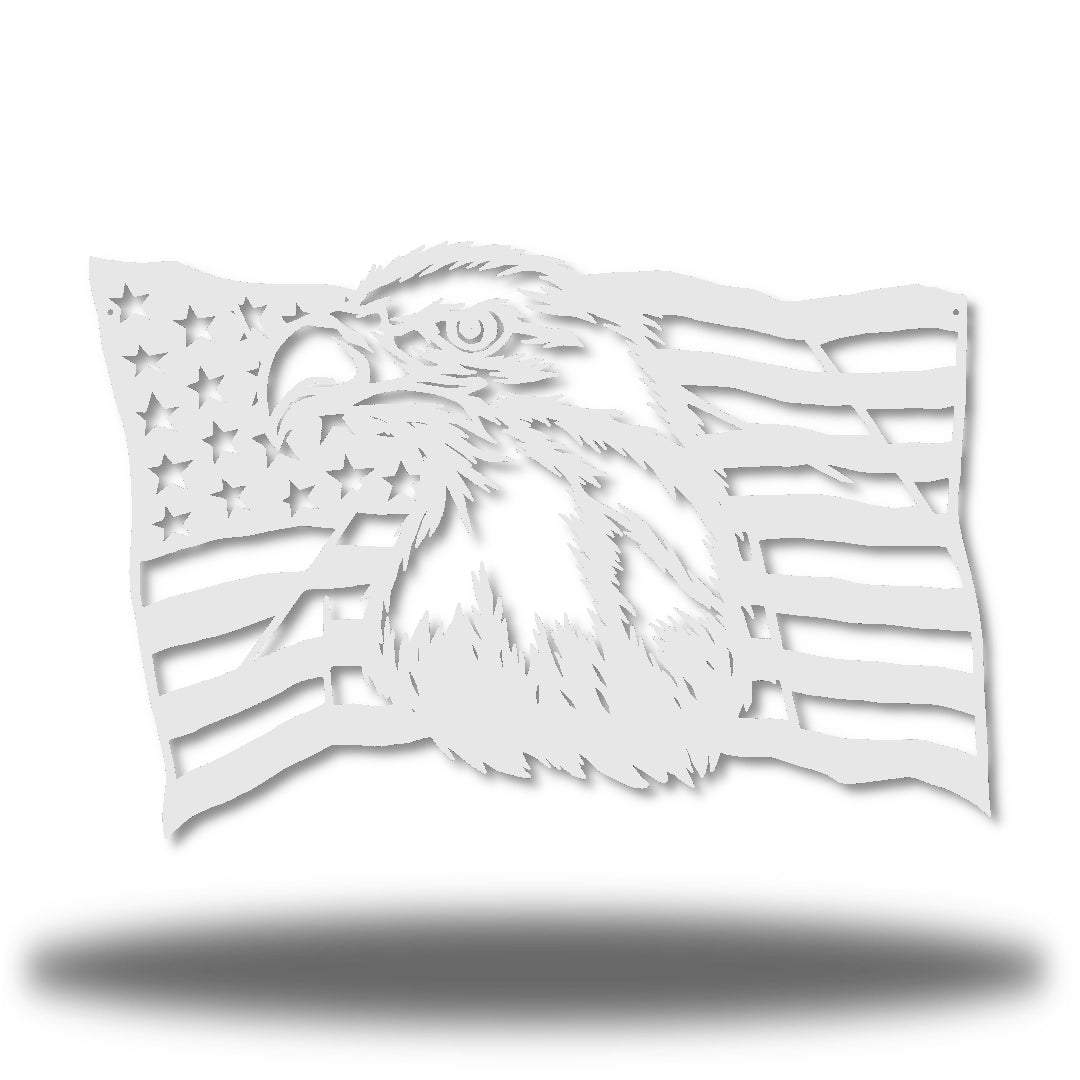 White steel USA flag wall decoration with a bald eagle in the middle